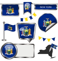 Glossy icons with new yorker flag vector