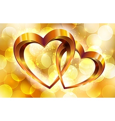 Gold composition with glossy hearts vector