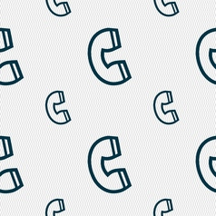 handset icon sign Seamless pattern with geometric vector image