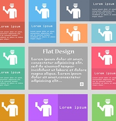 Inspector icon sign set of multicolored buttons vector
