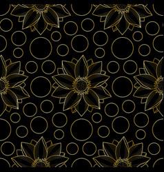 Lotus and circles pink seamless pattern vector