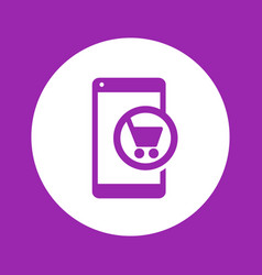 Mobile shopping smartphone with cart icon vector