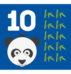 Number 10 - Panda bear with ten bamboo shoots vector image vector image