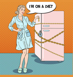 Pop art young woman on diet with locked fridge vector