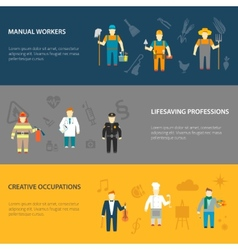 Profession characters horizontal banners flat vector