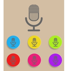 retro microphone icon with color variations vector image vector image