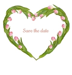Save the date card with tulip eps 10 vector