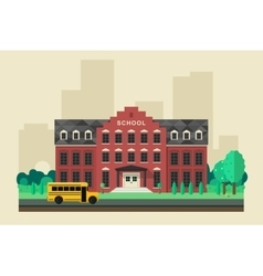 School building with yellow bus vector image vector image