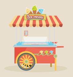 Shiny colorful ice cream cart awesome creative vector