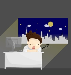 Sleep night work time salary man cartoon lifestyle vector