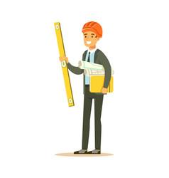 smiling architect in orange safety helmet holding vector image vector image