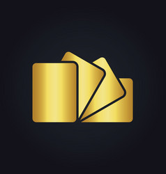 Square gold paper logo vector