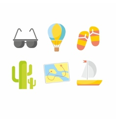 Summer icons flat design trend vector