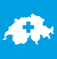 Switzerland map icon white vector