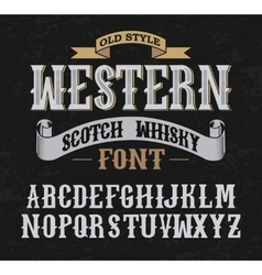 Western label font with decoration design vector