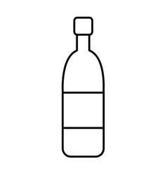 wine glass bottle drink alcohol cork outline vector image
