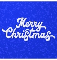 Xmas 3d lettering on blue christmas background vector
