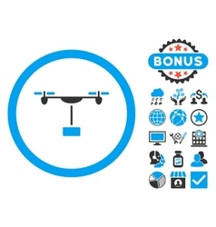 Drone shipment flat icon with bonus vector