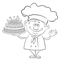 Cook with holiday cake contour vector