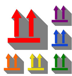 Logistic sign of arrows set of red orange vector