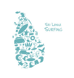 Sri lanka surfind design made from surf icons vector