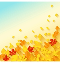 Background with autumn leaves in flat design style vector image