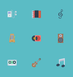 Flat icons tape acoustic tone symbol and other vector