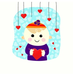 Valentine boy with heart vector