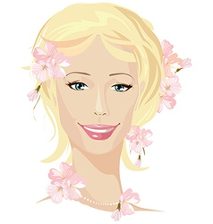 Spring beautiful woman portrait vector