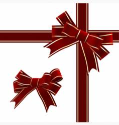 Christmas red ribbon with bow vector
