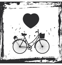 Abstract grunge frame bicycle silhouette and vector