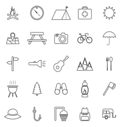 Camping line icons on white background vector