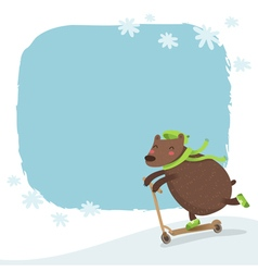 Bear riding a scooter winter background vector