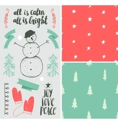 Christmas new year set hand drawn winter vector