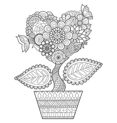 Heart tree in the pot vector