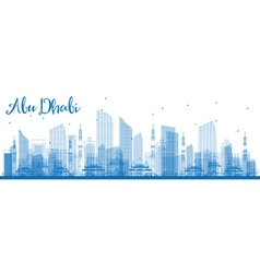 Outline abu dhabi city skyline vector