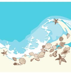 Shells and starfishes on sand background vector