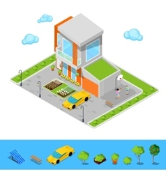 Isometric house with garage basketball playground vector