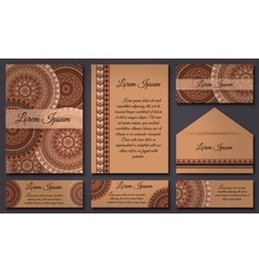 Invitation card collection vintage decorative vector