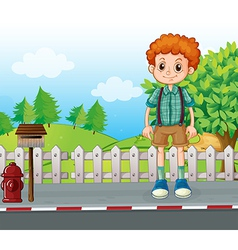 A tall man standing at the street vector image vector image