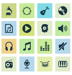 Audio icons set collection of tuner phonograph vector