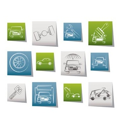 auto service and transportation icons vector image vector image
