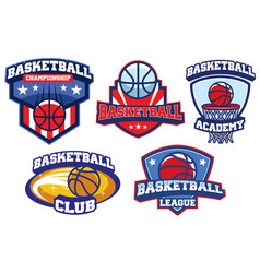 basketball badge design set vector image vector image
