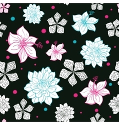 Black pink blue floral drawing seamless vector