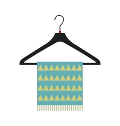 Blue scarf on coat-hanger flat icon vector