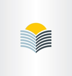 Book and sun abstract icon vector