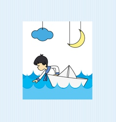 Boy in a paper boat vector