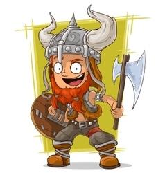 Cartoon redhead viking warrior vector image vector image