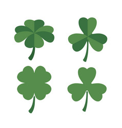 clovers set of four and three leaves in colorful vector image
