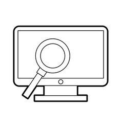 Computer desktop with magnifying glass vector